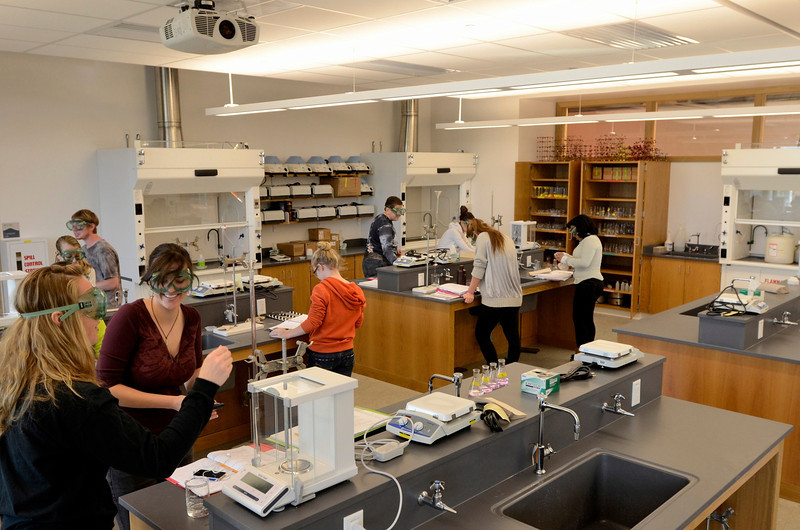 Mike McMahon - The Record, Chemistry lab at Hudson Valley Community College's $47.4 million, 100,000-square-foot Science Center., Thursday 10/10/2013.