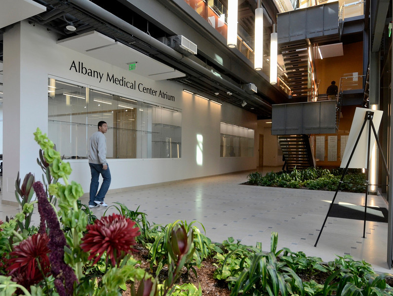 Mike McMahon - The Record, Albany Medical Center Atrium at Hudson Valley Community College's $47.4 million, 100,000-square-foot Science Center., Thursday 10/10/2013.