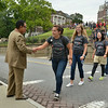 MIKE McMAHON - mmcmahon@digitalfirstmedia.com, Rebecca Nguyen of Dover Plains NY, is the first freshman to shake RPI President Shirley Ann Jackson hand  as they head downtown. Immediately following the greetings at the Approach, Rensselaer will host the annual Welcome Festival, a free community celebration at Troy's Riverfront Park, Friday August 22, 2014