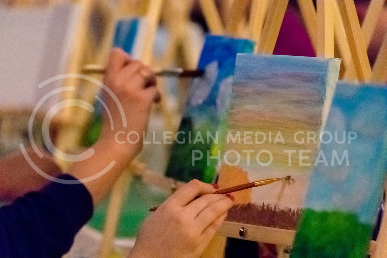 While instructions are provided, students are free to be creative and make a unique painting. (Alex Todd | Collegian Media Group)