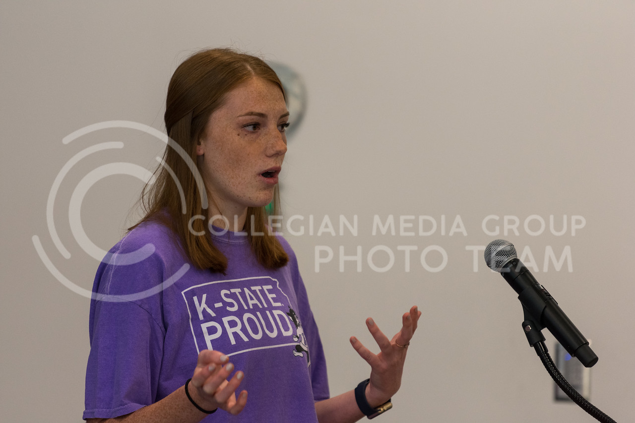 SGA Chief of Staff Jordan Kiehl provides an overview of K-State's student government and how it supports student organizations. (Alex Todd | Collegian Media Group)