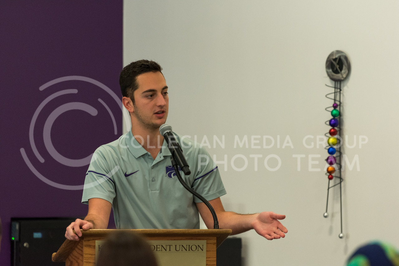 Nick Nordstrom, Chair of the Student Engagement Committee, welcomes student organization leaders to the SGA Engagement Training event in the K-State Student Union on January 27th. (Alex Todd | Collegian Media Group)