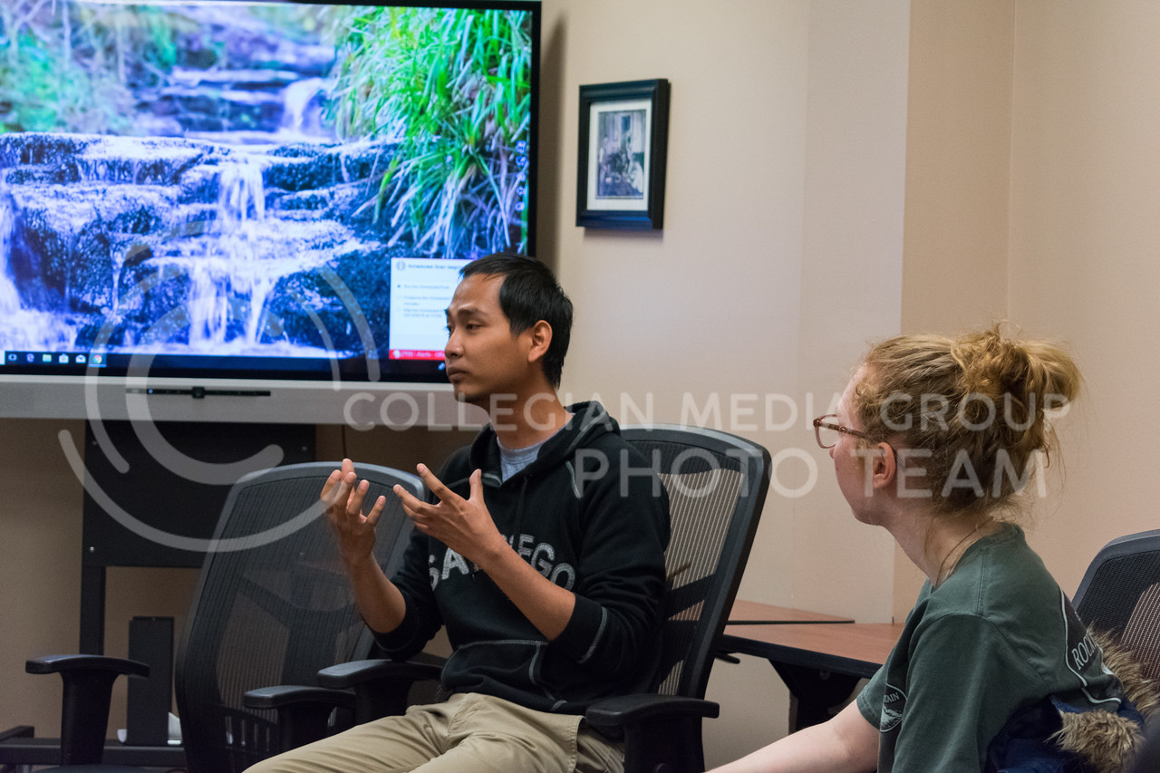 There were about 10 participants at the Moment of Mindfulness event on February 7, mediating on being mindful and having a time to relax. (Alex Todd | Collegian Media Group)