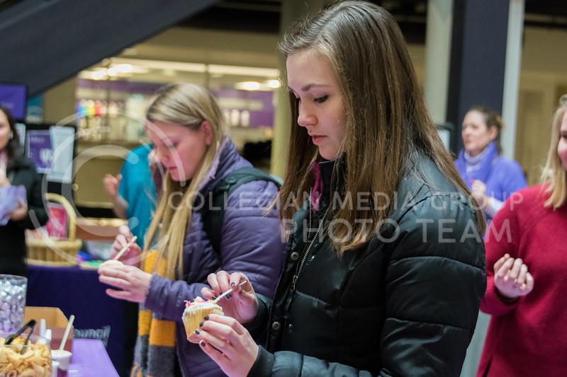 Wildcat Sarah Traylor adds the final touches to her cupcake at the UPC Battle of the Cupcakes in the Union on February 21. (Alex Todd | Collegian Media Group)