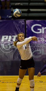 Junior setter Brooke Smith prepares to hit the ball during the volleyball game against Arkansas in Ahearn Field House on Aug. 31, 2017. (Nathan Jones | Collegian Media Group)