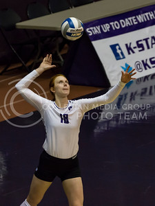 Junior opposite hitter Bryna Vogel prepares to serve the ball during the volleyball game against Arkansas in Ahearn Field House on Aug. 31, 2017. (Nathan Jones   Collegian Media Group)
