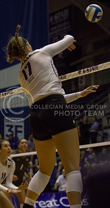 Freshman outside hitter Brynn Carlson takes a swing on the ball during the volleyball game against Arkansas in Ahearn Field House on Aug. 31, 2017. (Sabrina Cline | Collegian Media Group)
