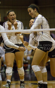 Freshman middle blocker Peyton Williams celebrates with her teammates after a block during the volleyball game against Arkansas in Ahearn Field House on Aug. 31, 2017. (Sabrina Cline   Collegian Media Group)