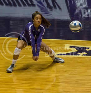 Junior libero Reilly Killeen prepares to hit the ball during the volleyball game against Arkansas in Ahearn Field House on Aug. 31, 2017. (Nathan Jones | Collegian Media Group)