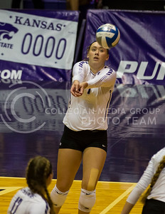 Junior outside hitter Kylee Zumach prepares to hit the ball during the volleyball game against Arkansas in Ahearn Field House on Aug. 31, 2017. (Nathan Jones | Collegian Media Group)
