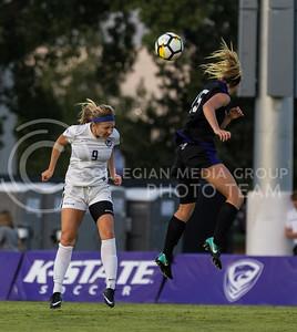 Junior defender Megan Kalkofen heads the ball during the game against Central Arkansas on Sept. 8, 2017, in the K-State Soccer Stadium. (Nathan Jones | Collegian Media Group)