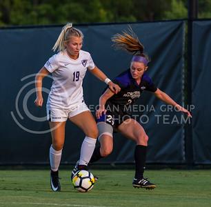 Freshman midfielder Christina Baxter guards the ball during the game against Central Arkansas on Sept. 8, 2017, in the K-State Soccer Stadium. (Nathan Jones | Collegian Media Group)