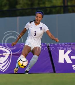 Junior defender Haley Sutter kicks the ball during the game against Central Arkansas on Sept. 8, 2017, in the K-State Soccer Stadium. (Nathan Jones | Collegian Media Group)