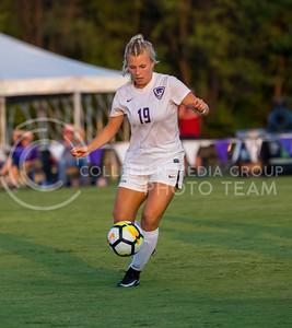 Freshman midfielder Christina Baxter prepares to kick the ball during the game against Central Arkansas on Sept. 8, 2017, in the K-State Soccer Stadium. (Nathan Jones | Collegian Media Group)