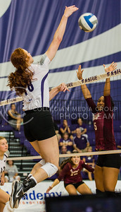Bryna Vogel, junior opposite hitter, leaps high to deliver a kill in the match against Mississippi State in Ahern on Sept. 9, 2016. (Sabrina Cline | The Collegian)