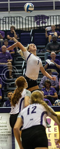 Kylee Zumach, sophomore outside hitter, swings hard down line in the match against Mississippi State in Ahern on Sept. 9, 2016. (Sabrina Cline | The Collegian)