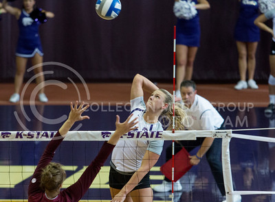Brooke Sassin, senior outside hitter, rips the ball cross court for the kill in the match against Mississippi State in Ahern on Sept. 9, 2016. (Sabrina Cline | The Collegian)