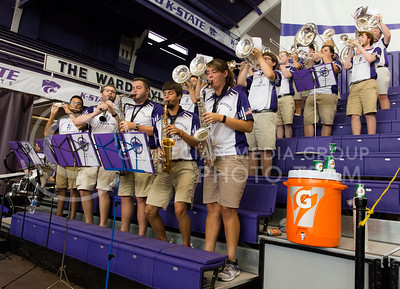 The K-State marching band performs at the K-State volleyball game against Mississippi State in Ahearn Field House on Sept. 9, 2016. (Anna Spexarth | The Collegian)