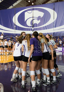 The K-State volleyball team prepares for the game against Mississippi State on Sept. 9, 2016. (Anna Spexarth | The Collegian)