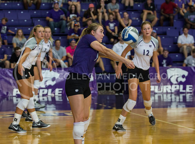 Kersten Kober, senior libero, gives her setter a great pass in the match against Mississippi State in Ahern on Sept. 9, 2016. (Sabrina Cline | The Collegian)