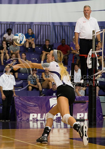 Senior setter Katie Brand prepares to hit the ball during the K-State versus Mississippi State volleyball game in Ahearn Field House on Sept. 9, 2016. (Anna Spexarth | The Collegian)