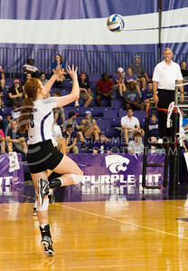 Junior opposite hitter Bryna Vogel gets ready to hit the ball during the K-State versus Mississippi State match on Sept. 9, 2016, in Ahearn Field House. (Anna Spexarth | The Collegian)