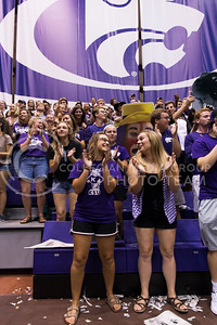 Students cheer at the K-State volleyball game against Miami on Sept. 9, 2016, in Ahearn Field House. (Anna Spexarth | The Collegian)
