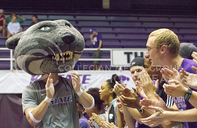 Willie the Wildcat pumps up the crowd as they support the K-State volleyball team in its game against Miami on Sept. 9, 2016, in Ahearn Field House. (Maddie Domnick | The Collegian)