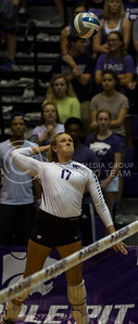 Senior outside hitter Brooke Sassin prepares to hit the ball during the K-State volleyball game against Miami in Ahearn Field House on Sept. 9, 2016. (Nathan Jones | The Collegian)