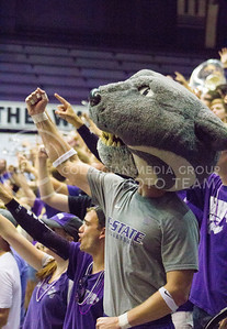 Willie the Wildcat cheers on the K-State volleyball team in its game against Miami on Sept. 9, 2016, in Ahearn Field House. (Maddie Domnick | The Collegian)
