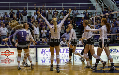 The K-State women's volleyball team celebrates its victory over Miami in Ahearn Field House on Sept. 9, 2016. (Nathan Jones | The Collegian)