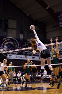 Junior opposite hitter Bryna Vogel hits the ball during the K-State versus Miami match on Sept. 9, 2016, in the Ahearn Field House. (Anna Spexarth | The Collegian)