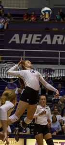 Junior opposite hitter Bryna Vogel prepares to hit the ball during the K-State volleyball game against Miami in Ahearn Field House on Sept. 9, 2016. (Nathan Jones | The Collegian)