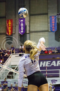 Senior outside hitter Brooke Sassin hits the ball to the opposing side in the game against Miami on Sept. 9, 2016, in Ahearn Field House. (Maddie Domnick | The Collegian)