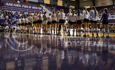 The K-State women's volleyball team stands on the court before the game against Miami in Ahearn Field House on Sept. 9, 2016. (Nathan Jones | The Collegian)