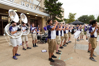 Members of the K-State marching band perform in front of Ahearn Field House before the K-State versus Miami volleyball game on Sept. 9, 2016. (Anna Spexarth | The Collegian)