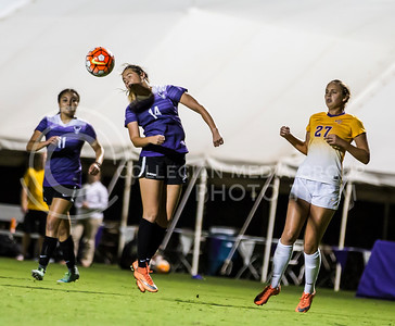 Freshma midfielder Ashley Zane heads the ball in the game against University of Northern Iowa on Sept. 16, 2016, in the K-State Soccer Stadium. (Nathan Jones | The Collegian)