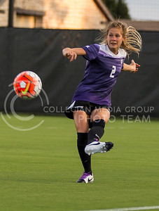 Sophomore defender Kelcy Fiser kicks the ball in the game against University of Northern Iowa on Sept. 16, 2016, in the K-State Soccer Stadium. (Nathan Jones | The Collegian)