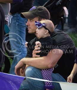 Father and daughter intensely watch K-State Women's Soccer take on University of Northern Iowa for the Wildcats' home opener. (Nick Horvath | The Collegian)