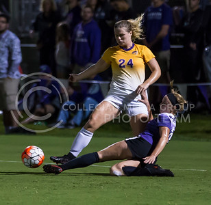 Sophomore defender Morgan Egan slides for the ball in the game against University of Northern Iowa on Sept. 16, 2016, in the K-State Soccer Stadium. (Nathan Jones | The Collegian)