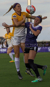 Sophomore forward Tatum Wagner collides with an Iowa player when running for the ball in the game against University of Northern Iowa on Sept. 16, 2016, in the K-State Soccer Stadium. (Nathan Jones | The Collegian)