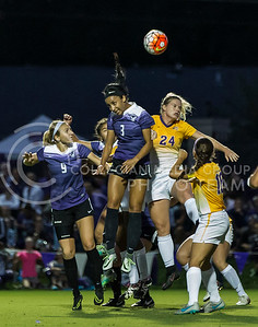 Sophomore defender Megan Kalkofen and sophomore defender Haley Sutter jump for the ball in the game against University of Northern Iowa on Sept. 16, 2016, in the K-State Soccer Stadium. (Nathan Jones | The Collegian)