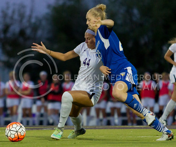 Sophomore forward Tatum Wagner keeps her opponent away from the ball in the game against UMKC at the K-State Soccer Complex on Sept. 30, 2016. (Sabrina Cline   The Collegian)