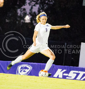 Sophomore defender Megan Kalkofen kicks the ball during the last home game on Sept. 30, 2016. The Wildcats won 2-0 over the UMKC Kangaroos in their fourth home game of the season. (Alanud Alanazi   The Collegian)