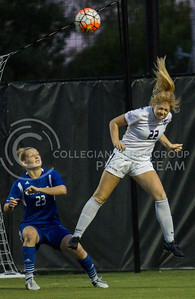 Sophomore forward Kim Braddock heads the ball away from the Wildcats' goal in the game against UMKC at the K-State Soccer Complex on Sept. 30, 2016. (Sabrina Cline   The Collegian)