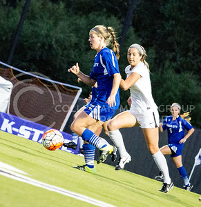 Freshman defender Grace Brennan chases after the ball during K-State's last home soccer game on Sept. 30, 2016, against UMKC. The Wildcats won 2-0 over the Kangaroos. (Alanud Alanazi   The Collegian)