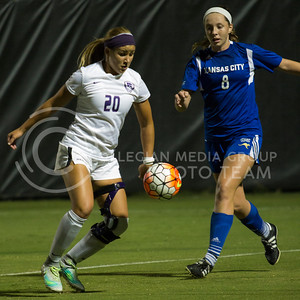 Freshman forward Katie Cramer keeps the ball away from her defender during the game against UMKC at the K-State Soccer Complex on Sept. 30, 2016. (Sabrina Cline   The Collegian)