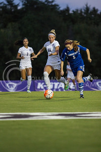 Sophomore forward Tatum Wagner races for the ball in the game against UMKC at the K-State Soccer Complex on Sept. 30, 2016. (Sabrina Cline   The Collegian)
