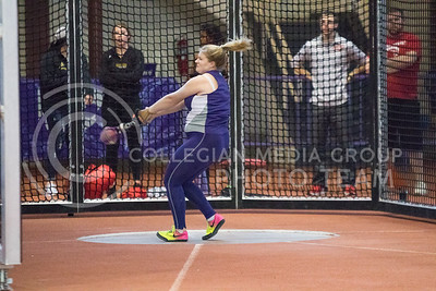 Freshman Helene Ingvaldsen throws shot put at the K-State track meet in Ahearn Field House on Feb. 17, 2017. (John Benfer | The Collegian)
