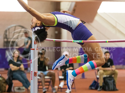 Freshman Ariel Okorie jumps in the high jump event at the K-State track meet in Ahearn Field House on Feb. 17, 2017. (John Benfer | The Collegian)